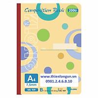 Sổ may dán gáy A4 - 200 trang; Klong 929 bìa màu cam