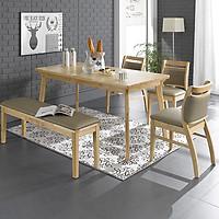 Bộ bàn ghế BIANCA - 3 ghế đơn + 1 băng dài (xám cacao)