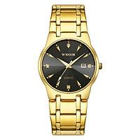 Đồng hồ đeo tay nam WWOOR Quartz Watch mặt số kim cương,con trỏ phát sáng 30M - Vàng hồng và đen