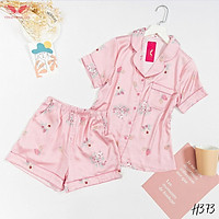 VINGO Bộ Đồ Mặc Nhà Nữ Kiểu Dáng Pyjama Chất Liệu Lụa Pháp Cao Cấp Tay Cộc Quần Cộc Họa Tiết Hồng Phấn H373 VNGO