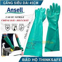 Găng chống hóa chất Ansell 37-185 găng tay cao su nitrile - chống hóa chất - axit - dầu nhớt siêu dài 45,5cm (Màu xanh)