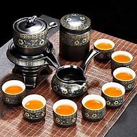 Bộ ấm chén pha trà cối xay sm004 - xanh đen trắng 12 món