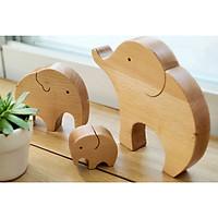 Đồ trang trí bằng gỗ - Gia đình voi con