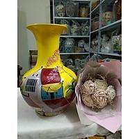 Bình tỏi cắm hoa gốm sứ Bát Tràng vẽ cảnh phố cổ
