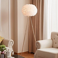 Đèn cây đứng lông vũ trắng ML3889T  trang trí phòng khách cao cấp, sang trọng