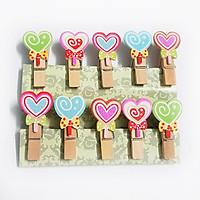 Bộ kẹp gỗ trái tim lollipop