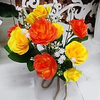 Hoa giả Chùm hoa Hồng màu Vàng cam trang trí