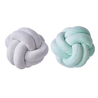Set Of 2 Round Knot Pillow Soft Throw Pillow Sofa For Bedroom White Blue