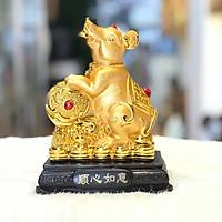 Tượng Chuột Phong Thủy Như Ý Mạ Vàng