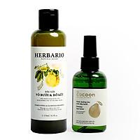 Bộ dầu gội bưởi bồ kết herbario (270ml) +  Dưỡng tóc bưởi pomelo cocoon (140ml)