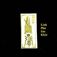 Linh Phù Sức Khỏe, Dùng linh phù để dán điện thoại, laptop, xe máy, xe hơi, bàn thờ ông địa hay vị trí làm việc, gối đầu giường, kích thước 4.5x3cm, màu vàng - TMT Collection - SP005354