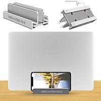 Giá Đỡ Kiêm Đế Kẹp Laptop - Macbook - Ipad -  Điện Thoại  Dựng Đứng.3 Khe Đa Năng Hợp Kim Nhôm Nguyên Khối Cho Hàng Chính Hãng
