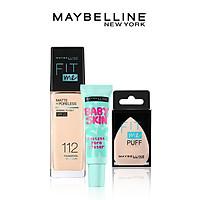 Bộ Trang Điểm Kem nền kiềm dầu chống nắng Fit Me, kem lót mịn da Baby Skin & mút tán nền cao cấp Maybelline New York - 112 NATURAL IVORY