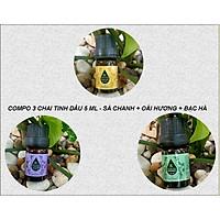 COMPO 3 CHAI TINH DẦU 5ML NGUYÊN CHẤT NHẬP KHẨU - SẢ CHANH + BẠC HÀ + OẢI HƯƠNG - TINH DẦU XÔNG GIÚP THƯ GIÃN, XUA ĐUỔI CÔN TRÙNG, THƠM PHÒNG, NÂNG CAO CHẤT LƯỢNG CUÔC SỐNG PHÒNG