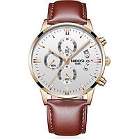 Đồng hồ thời trang công sở nam NIBOSI chính hãng NI2309.24 (Phụ kiện thời trang)  fullbox, chống nước cao cấp - Chạy full 6 kim, mặt kính Mineral, dây da cao cấp