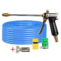 Bộ dây vòi xịt nước rửa xe, tưới cây đa năng, tăng áp 3 lần, loại 15m 206701-2 đầu đồng,cút+ tặng đai