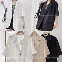 Áo blazer nữ cộc tay ,áo vest nữ cộc tay chất mát dáng rộng 2 khuy dày dặn