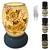 3 tinh dầu (Sả chanh, bạc hà, cà phê) Eco 10ml và đèn xông tinh dầu size L AH23 và 1 bóng đèn