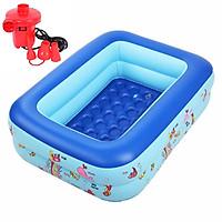 Bể bơi phao 2 tầng cho bé size 115x85x35cm - Mẫu mới (màu ngẫu nhiên) tặng kèm 1 bơm điện 2 chiều