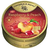 Kẹo Đào Phúc Bồn Tử Cavendish & Harvey (175g) Peach & Raspberry Special Edition Cao Cấp Hộp Thiếc Vàng Nhập Khẩu