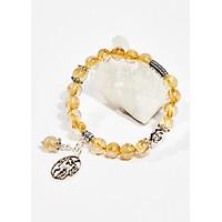 Vòng tay phong thủy nữ đá thạch anh tóc vàng AAA phối charm kỳ lân 8mm mệnh thủy , kim - Ngọc Quý Gemstones