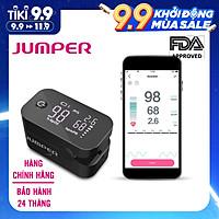 Máy đo nồng độ oxy máu SpO2, PR, PI Jumper JPD-500G (FDA Hoa Kỳ + xuất USA), Kết nối Bluetooth APP mobile, màn hình LED - Phiên bản màu Đen