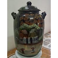Hũ đựng rượu, gạo vẽ phong cảnh gốm sứ Bát Tràng loại 20L (15 Kg gạo)