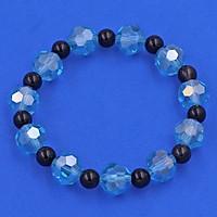 Vòng tay pha lê xanh biển giác 10 ly thạch anh đen CTFLXBGTAES10
