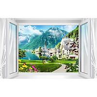 Tranh dán tường 3D cửa sổ con đường rừng núi - vải lụa phủ kim sa