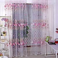 Sunflower Pattern Translucent Curtain Tulle for Living Room Bedroom Dercoration