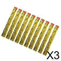 3x10x Metallic Shiny Tinsel Foil tassel Window Curtains Party Decor Gold