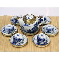 Bộ bình trà (ấm Chén) men trắng dáng sen bọc đồng MNV-TS495