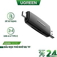 Đầu đọc thẻ nhớ SD,TF 2 trong 1 UGREEN 80191 USB-A và Type-C - Hàng nhập khẩu chính hãng