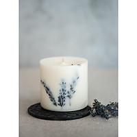 Nến thơm cao cấp bằng sáp đậu nành với tinh dầu hữu cơ hoa oải hương, trang trí cành hoa oải hương tự nhiên - 500ml