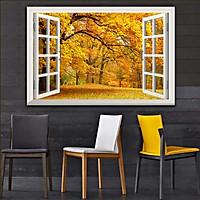 Bức tranh 3D dán tường cửa sổ PHONG CẢNH RỪNG CÂY 2 lựa chọn bề mặt cán PVC gương hoặc cán bóng, mã số: 00402163L11