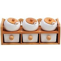 Bộ đựng gia vị 6 hũ tròn nghiêng giá gỗ 2 tầng