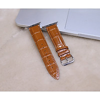 Dây da thay thế dành cho Apple Watch da bò vân cá sấu hộp gỗ cao cấp