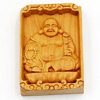Mặt gỗ hoàng đàn khắc hình Phật Di lặc MG7