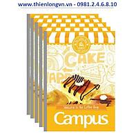 Lốc 5 quyển vở kẻ ngang 200 trang B5 Coffee Shop Campus NB-BCOF200 màu vàng