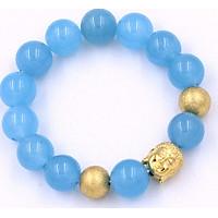 Vòng tay phong thủy đá thạch anh xanh biển 14 ly VTAXBNLVHB14 - Chuỗi Phật Như lai inox vàng kèm 2 bi - Chuỗi đá phong thủy, đem lại bình an, may mắn - Chuỗi tay Size lớn