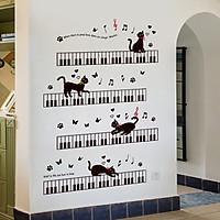 Decal dán tường Mèo Đen dễ thương AmyShop DKN093 (125x85cm)