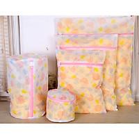 Combo 05 Túi lưới giặt đồ dùng cho máy giặt bảo vệ đồ lót, họa tiết hoa văn đẹp mắt