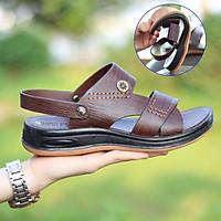 Sandal da bò đế kếp  HT.NEO  da bò thật 100% kết hợp đế kếp cao 3,5cm cực đẹp khâu may chân quai siêu chắc chắn (sd88)