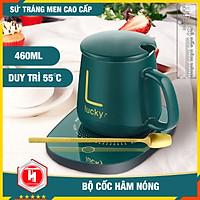 Bộ cốc hâm nóng đồ uống - HT SYS - Hâm nóng cafe, sữa, cháo... Chất liệu gốm sứ - Màu Xanh - Họa tiết chữ giao ngẫu nhiên