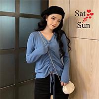 áo thun dài tay nữ thu đông cổ chữ V dây rút tùy chỉnh tạo phong cách SatSun