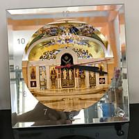 Đồng hồ thủy tinh vuông 20x20 in hình Church - nhà thờ (98) . Đồng hồ thủy tinh để bàn trang trí đẹp chủ đề tôn giáo