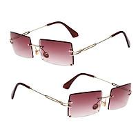 2x Women Rectangle Cut Rimless Sunglasses Retro Tinted Lens Eyewear UV400 Purple