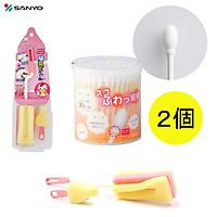 Combo hộp 110 chiếc tăm bông Sanyo kháng khuẩn an toàn cho bé + dụng cụ cọ rửa bình sữa - nội địa Nhật Bản