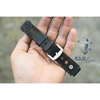 Dây đồng hồ da bò cho Casio AE1200 WHD và Seiko 5 37mm (Tặng Khóa + Cây thay dây + 2 chốt) -  Da bò đen tuyền có 3 lỗ