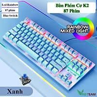 VINETTEAM Bàn phím Cơ Chuyên Game Có Dây K2 - Blue Switch LED 87 phím - hàng chính hãng
